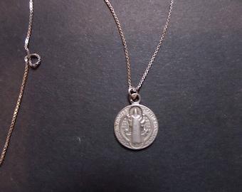 Vintage necklace + silver St. Benedict Medal