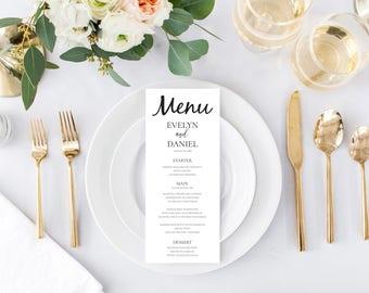 Simple Elegant Custom Editable Wedding Menu, Wedding Menu Template, Printable Wedding Menu, Instant Download, Digital Print Download