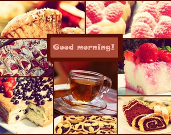 Photo collage, Poster Print, Printing on Paper Matte, Photo Art, Tea and cakes Art, Wall Art, Home decor, Kitchen decor, Morning photo, Gift