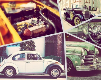 Photo collage, Poster Print, Printing on Matte Paper, Cars Art, Wall Art, Home decor, Office decor, Old cars, Gift