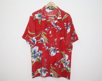 Vintage 80s Bordeaox Pacific Floral Red Design Cotton Hawaiian Shirt Made in USA Size XL
