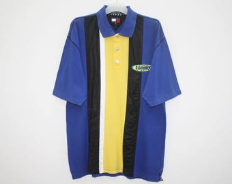 Tommy Jeans Authentic Racing Gear Blue Black Yellow Cotton Poly Polo Shirt Size XL