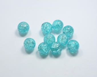 PE389 - Set of 10 12mm blue crackled glass beads