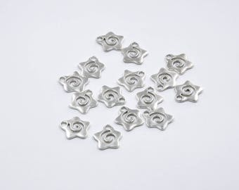 BR284 - Set of 15 charms silver metal star