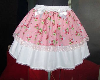 Skirt background pink kawaii lolita Strawberry