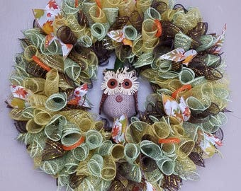 Autumn Owl Deco Mesh wreath yellow green and brown