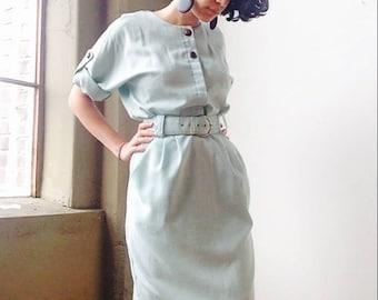 1980's Seafoam belted Dress Sz S M