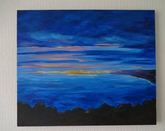 Sunset at the Coast Abstract Landscape Acrylic on Canvas