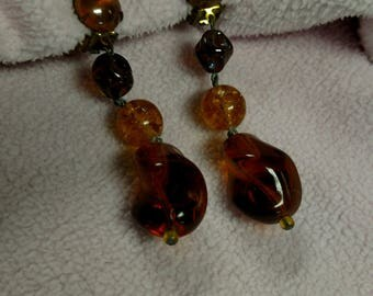 Amber colored Clip Earrings