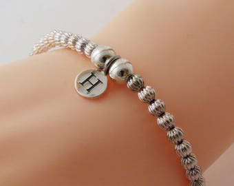 Sterling Silver Bracelet, Custom Initial Bracelet, Stretch Silver Bracelet, Silver Ball Bracelet, Initial Bracelet, Silver Initial Jewelry