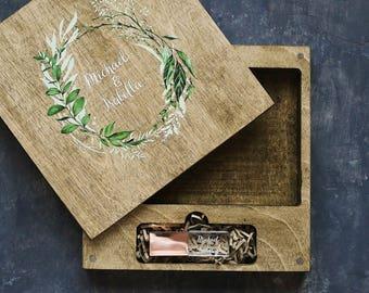 Usb box, custom usb flash drive, usb packaging, crystal usb, wood wedding box for photo 4x6 (10x15cm) with colored logo