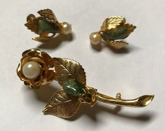 Gold Rose Brooch Vintage Pin and Earring Set
