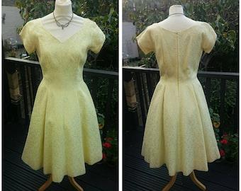 50's/60's Handmade Lemon Flock-Satin Floral Dress