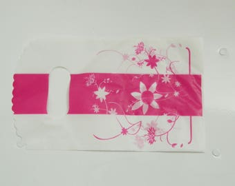 Set of 10 white and pink cello bag with flower bag