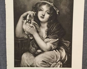 Greuze. A girl with doves. 1920's antique print