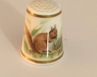 Collectible, Royal Worcester, ceramic fine bone china, Thimble. Squirrel and hedge.