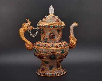 Antique Nepalese Gems Decorated Karuwa Ritual Water Pot Vessel House Decoration vintage vessel