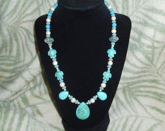 Turtle & Teardrop necklace