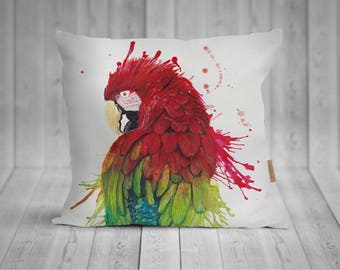 Pillow with Parrot watercolor motif, hand-sewn, 50x50cm, with individualisierterer back
