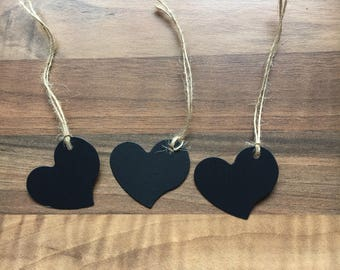 5 x Cute Heart Card and Twine Gift Tags  Black White Brown