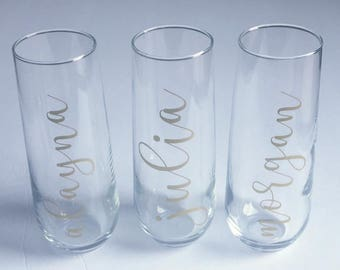 Customized Champagne Flutes, Wine Glasses and Coffee Mugs- Bridal Parties, Bachelorette Party and Special Events