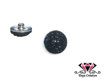 Shiny black dome cabochon snap iridescent relief
