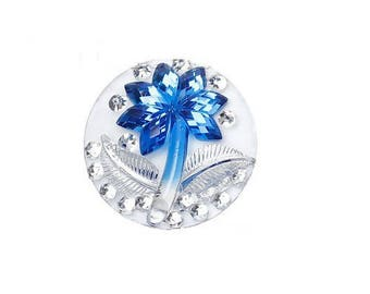 x 1 cabochon / cameo blue volume flower with Rhinestone 25 mm