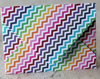 Rainbow Multicolored Zigzag Cardstock Gift Card Holder / Mini Envelope