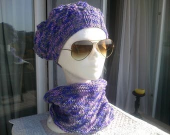 Beret and matching snood hand knitted purple one size