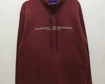 Rare!!! Hiroko Koshino Homme Pullover Half Zipper Spellout Jumper