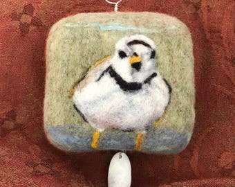 Felted and found object art wall hanging shorebird bird piping plover