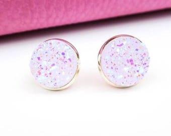 Light Pink Druzy Earrings
