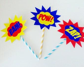 3 x superhero cake toppers - superhero decor - boom pow- pop art superhero