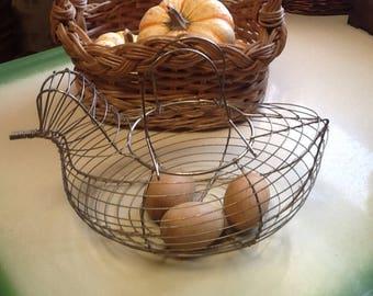 Wire Chicken Egg Basket Antique Country Kitchen Collectibe