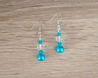 Earrings turquoise and white Swarovski Crystal