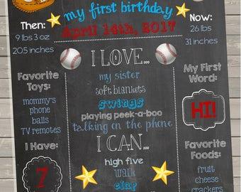 Baseball First Birthday Chalkboard Print
