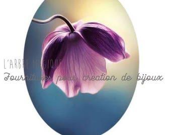 Oval cabochon 18 x 25 mm flower Bell romantic 1825c519 purple tones
