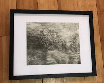 "Naturescape Handmade Charcoal Drawing 11 x 14"" Frame, 8 x 10"" Matte"