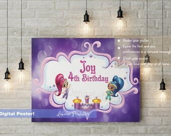 Shimmer & Shine birthday poster, birthday backdrop, cake table decoration, shimmer shine, shimmer shine party