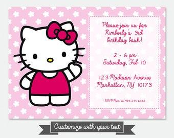 Hello kitty birthday invitation etsy au hello kitty birthday invitation card printable customizable stopboris Gallery
