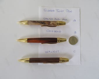 sierra twist pens, cocobolo,spalted ash and walnut