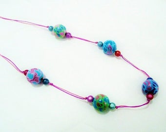 Long necklace, wood hand painted, purple, green, fuchsia, turquoise