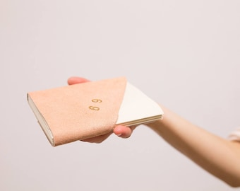 Leather notebook pink powder - MONOCHROME