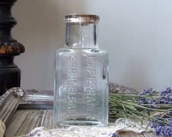 Antique pharmacy bottle, 1920 clear glass bottle, protuberant lettering, Karlsbader Sprudelsalz bottle, Carlsbad bottle, vintage bottle