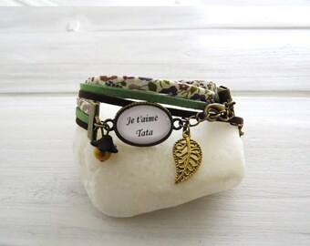 """""""I love Auntie"""" green and Brown for a great aunt bracelet liberty floral and ribbons"""