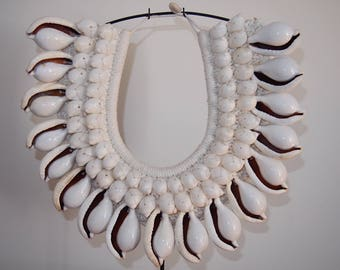 Large Tribal Shell Necklace with Stand