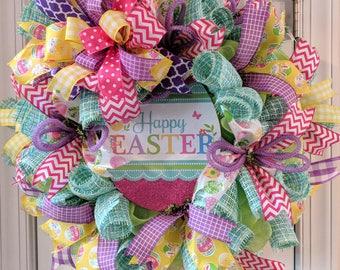 Easter wreath for your door, Easter bunny wreath front door decor, door decorations, spring wreath, bunny wreath, Easter decorations