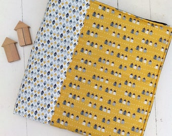 Contemporary baby/toddler play mat - mustard, grey, cream