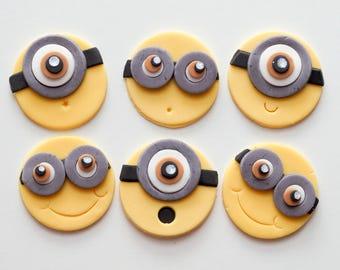 Miniond Fondant Cupcake Toppers x6