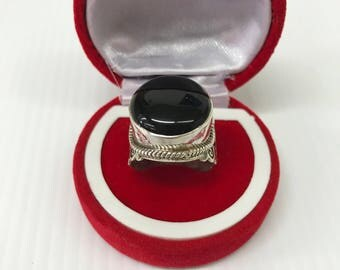 Sterling Silver Ring. Handmade Ring. Silver Black Onyx Ring